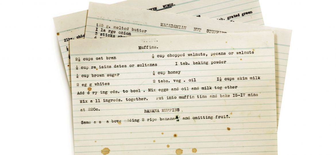 Old Recipes Typed on Index Cards Isolated